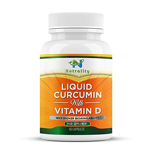 Nutrality Liquid Turmeric Curcumin Supplement, 1000mg per Serving, Extra Strength and Bioavailable Natural Anti-Inflammatory with Vitamin D3, Immune System Support