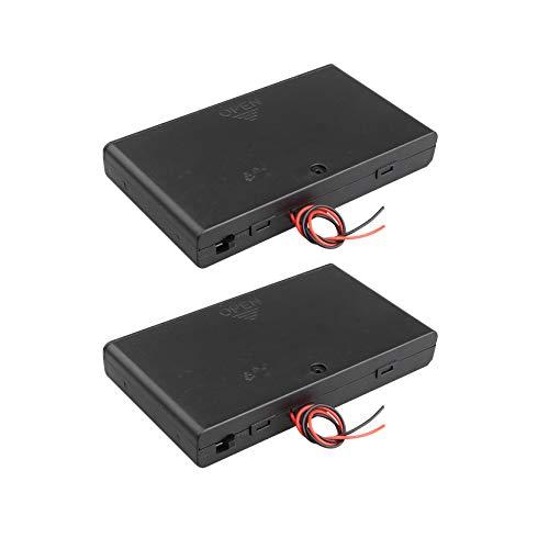 HALJIA - Caja de Almacenamiento de batería de plástico con Interruptor de Encendido/Apagado y Cables de Alambre, 2 Unidades, 12 V, AA, 8 x 1,5 V