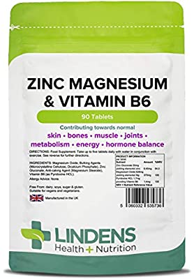Lindens Zinc Magnesium & Vitamin B6 Tablets | 90 Pack | Contributes Towards Normal Skin, Bones, Muscle Function, Joints, Metabolism, Energy & Hormone Balance