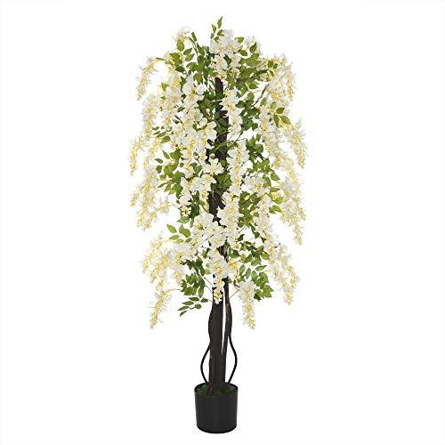 Outsunny Pianta Artificiale Glicine Bianco Finto con Vaso per Interni ed Esterni, Bianco e Verde Ф24 x 165cm