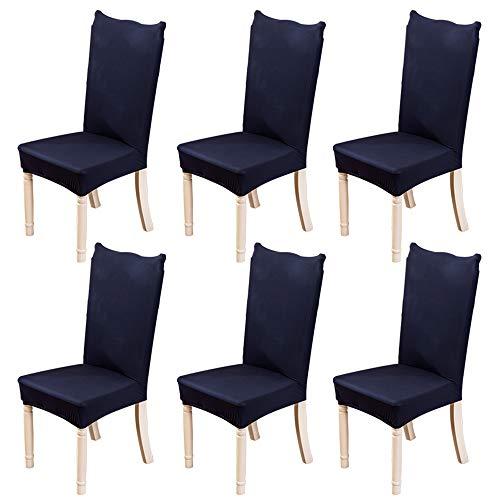 Jian Ya Na - Coprisedia elastici per sedie da sala da pranzo, rimovibili e lavabili, in elastan, fodere protettive per sedie, Poliestere, Marina Militare, 6 pezzi