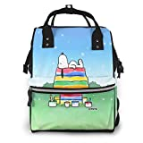 Mochila para pañales – Colorido Snoopy multifunción impermeable mochila de viaje pañales bolsas cambiantes