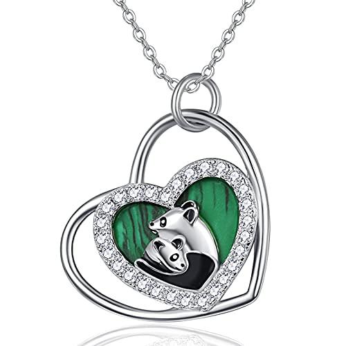 TANGPOET Collar con colgante de panda de plata de ley 925 con colgante de corazón de panda, regalo de joyería para mujeres y niñas