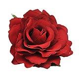 Beaupretty 2 en 1 Pin de Pelo Rosa Ramillete Flor Pinza de Pelo Broche de Flor Pin Accesorios para El Cabello para Boda de Fiesta (Rojo Opaco)