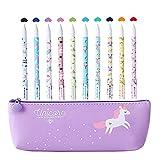 Unicorno Penne,Southstar 10 Unicorno Penne di Colori e 1 Astuccio per Matita Unicorno per Amanti dei Fenicotteri e Degli Unicorno, un Ottimo Regalo x una Bambina (viola)