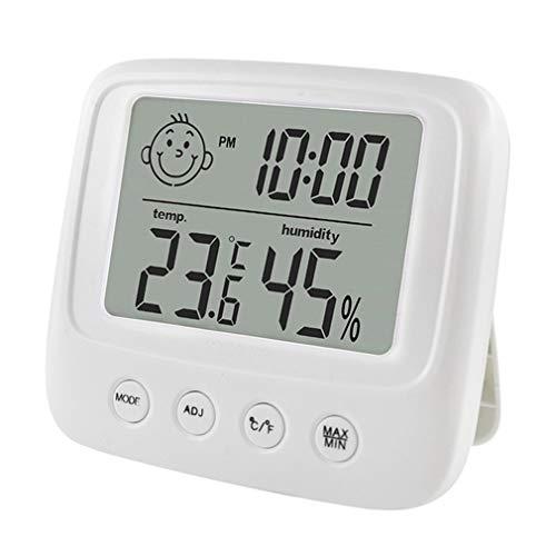 ASFD Termómetro multifunción de Pared Higrómetro Monitores electrónicos automáticos de Temperatura y Humedad Reloj Pantalla LCD Grande (Blanco sin retroiluminación)