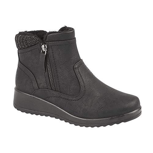 Shoe Tree Comfort Botas de tacón de cuña con cremallera de piel sintética para mujer, color Negro, talla 37 EU