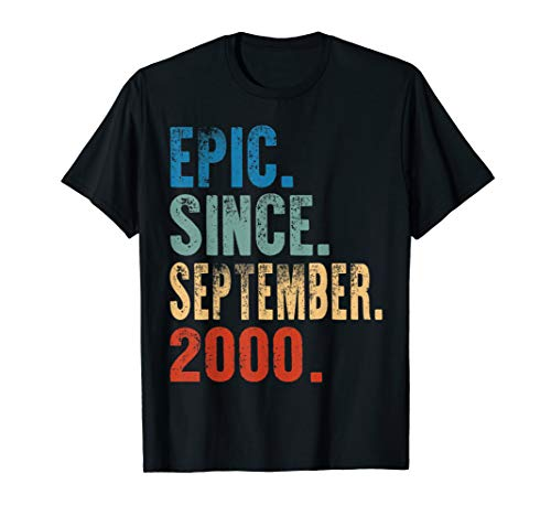 Epic Since september 2000 19th Birthday Gift 19 Yrs Old T-Shirt