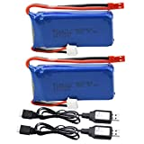 Blomiky 2 Pack 7.4V 1200mAH Lipo Battery Pack with...