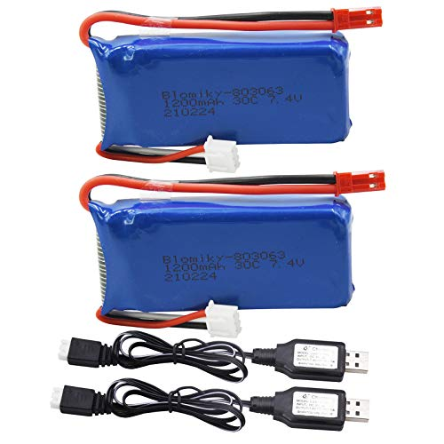 Blomiky 2 Pack 7.4V 1200mAH Lipo Battery Pack with JST Plug and Charger for YIZHAN X6 JJRC H40WH MJX X101 WLtoys V666 V353B UDI U829X RC Drone X6 Battery and USB 2