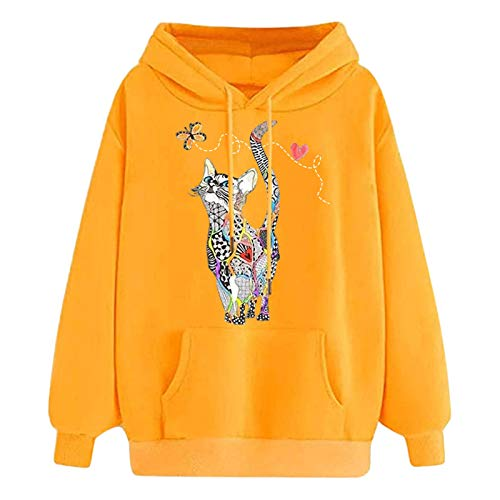 Hoodies for Teen Girls Women Pullover Cute Graphic Butterfly Cat Print Long Sleeve Tops Fall Novetly Hooded Sweatshirt Yellow