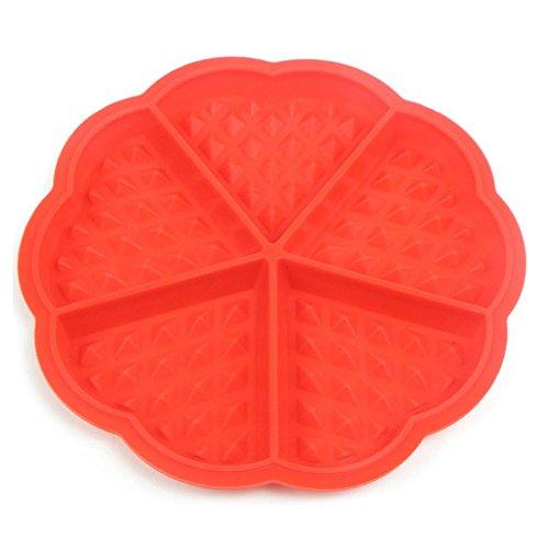 Westeng Herzförmig Waffelform Silikon Backform Belgische Waffel Antihaft-Beschichtung Rot 5 Höhlen 1 Stück