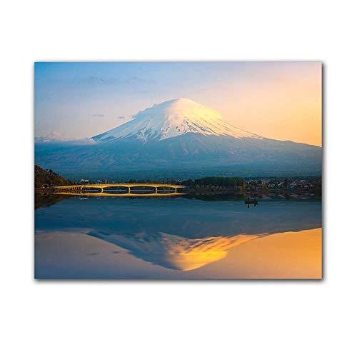 WJY Landschaft Leinwand Malerei Mount Fuji HD Bild für Wohnzimmer Wanddekoration Poster Picture 60x80cm Kein Rahmen