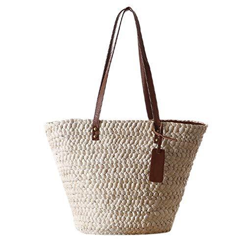 Borsa a tracolla da donna in paglia intrecciata a mano, con manici in pelle, borsa a tracolla, in paglia da donna, stile casual, grande tessuto a mano, per viaggi e vacanze