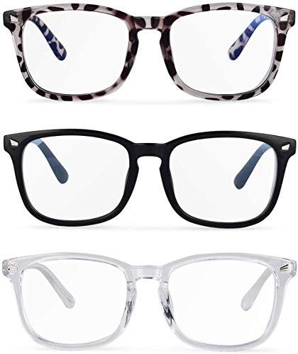 MUSBOY Blaulichtfilter Brille für Damen und Herren - 3er-Pack Bildschirm-Brille. Computerbrille Reduziert die Ermüdung der Augen, Gaming TV Brille mit Blaulichtfilter ohne sehstärke +0,00