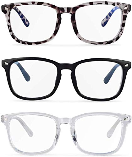 Gafas anti-luz azul, un pack de 3 gafas de bloqueo de luz azul. Reducir la fatiga ocular, sequedad y disminución de visión. Gafas anti-fatiga para juegos de ordenador. Paños de lentes y accesorios
