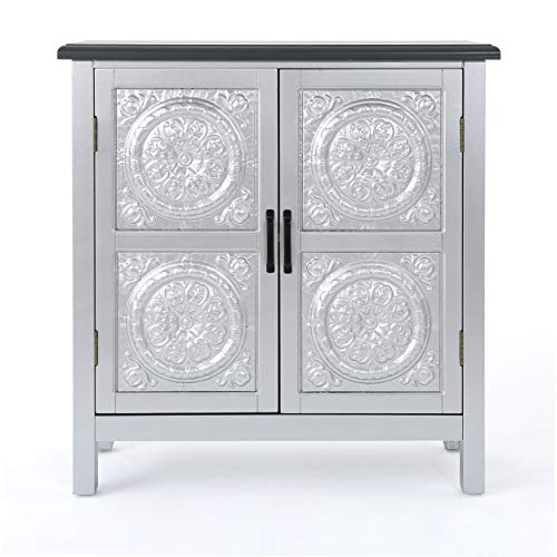 Christopher Knight Home Alana Firwood Cabinet with Faux Wood Overlay, Silver / Charcoal Grey