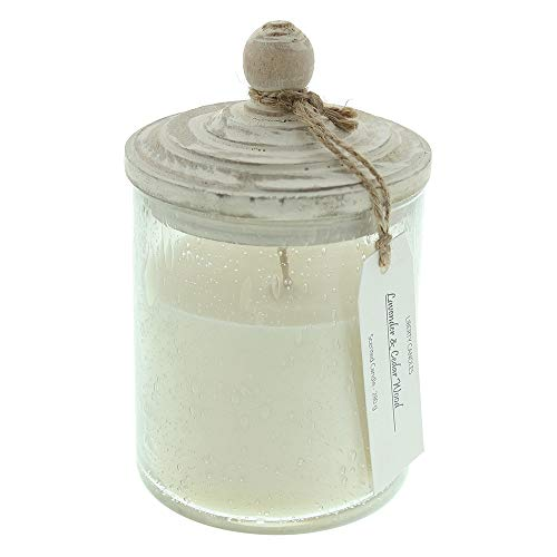 LIBERTY CANDLES Scented Candle, Inspiration Collection 10oz Lavender & Cedarwood Bubble Glass Jar White Soy Wax Blend Candle
