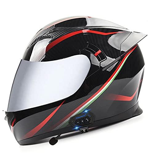 Bluetooth Integrado Casco Moto Integral Con Auriculares Bluetooth Y Doble Visera Solar Casco de Moto Integral Cuatro Estaciones,para Adultos Hombres Mujeres C,XL 🔥