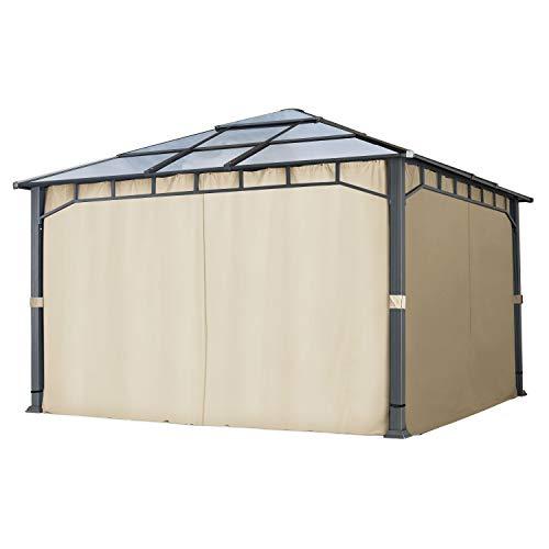 4 Seitenteile für Gartenpavillons 4x4 m - Polyester ca. 180 g/m²- mit Reißverschluss - Champagner