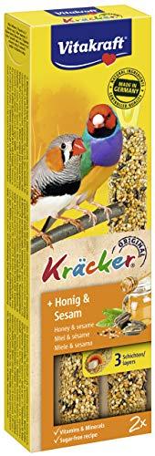Vitakraft - Barritas Kräcker para Canarios, Variedad Miel y Sésamo - 2 uds x 54 g