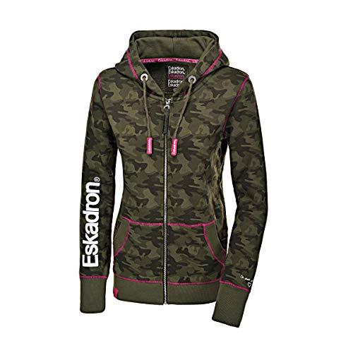 Eskadron Fanatics Damen Zip-Hoodie Zaza in Camouflage-Olive, Größe:S