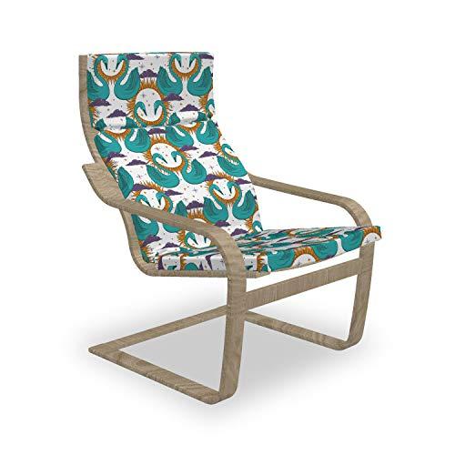 ABAKUHAUS Swans Poäng Sessel Polster, Mystic Aquatic Vogel und Sonne, Sitzkissen mit Stuhlkissen mit Hakenschlaufe und Reißverschluss, Seafoam Multicolor