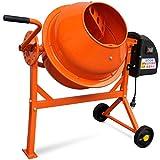 Tidyard Hormigonera Eléctrica de Acero de Energéticamente Eficiente 63 litros 220 W, S6 30% 110 x 55 x 93,5 Naranja