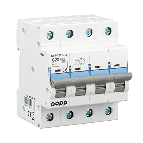 POPP Interruptor Automático Magnetotérmico industrial CURVA C 1P 2P 3P + 6A 10A 16A 20A 25A 32A 40A 50A 63A … (4P, 20A)