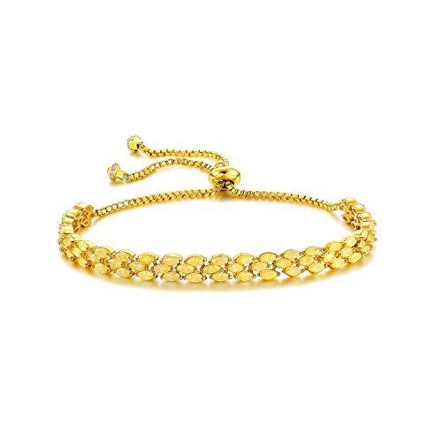 Serend 18k Gold Plated Fashion Adjustable Tennis Bracelet with Citrine Cubic Zirconia Diamond