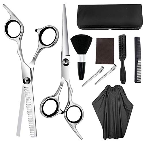 Mona43Henry Juego de tijeras de peluquería para entresacar el cabello, tijeras de peluquería con capa de barbero y peine de maquinilla de afeitar, clips, set de corte de pelo profesional mejorado