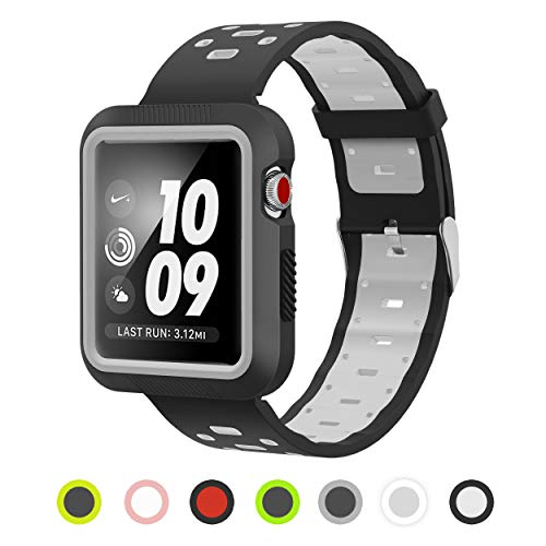 Pantheon Compatible with Apple Watch Band 38mm 40mm Silicone with Built in Bumper - Waterproof Sport Strap Series 4 3 2 1