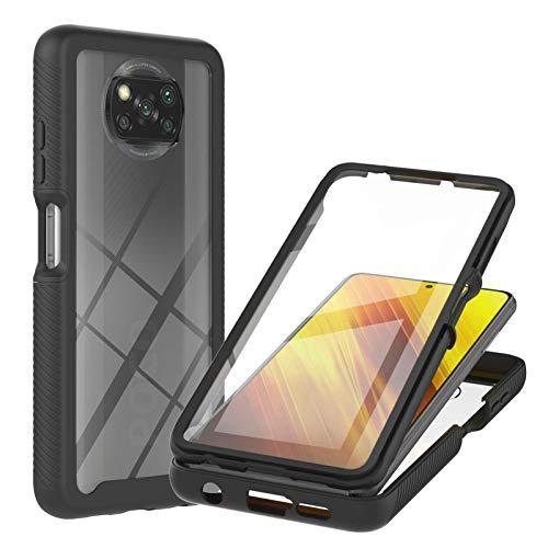 360 Grad Hülle für Xiaomi Poco X3 Pro/Poco X3 NFC, Transparent Handyhülle Ganzkörper Schutzhülle mit Eingebauter Glas Bildschirmschutzfolie, Durchsichtige Stoßfeste Fullbody Hüllen, Schwarz