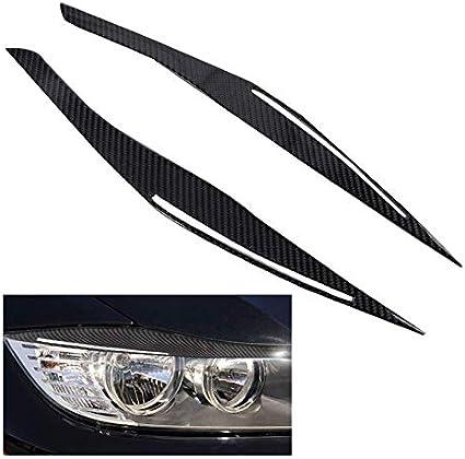 Couleur : Noir Fibre de Carbone phares Paupi/ères Sourcils Couverture Autocollants Garniture for BMW E90 M3 E91 328I 335I 2006-2011