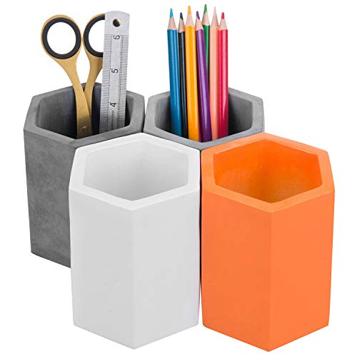 MyGift Modern Hexagonal Multi-Colored Concrete Pen & Pencil Cups, Office Stationary Storage Holders (Black, Gray, White, Orange), Set of 4
