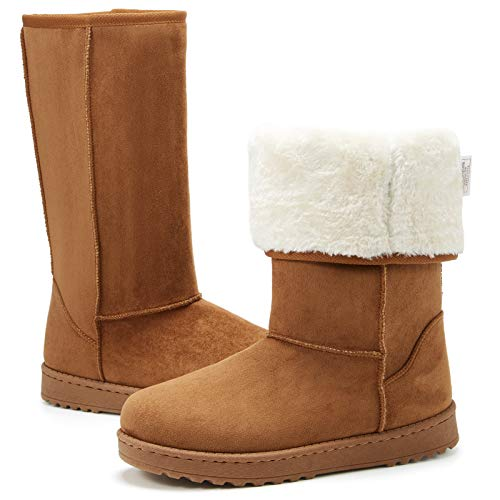 ZGR Women's Winter Snow Boots Mid-Calf Fur Lined Warm Shoes Outdoor Fashion Fuzzy Tall Boots(Chestnut,US9)