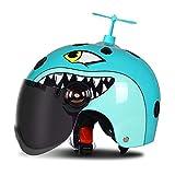 HNLong Caschi per Bambini Caschi da Moto Estivi per Uomo e Donna - Blue Dragonfly Tea_52-57cm