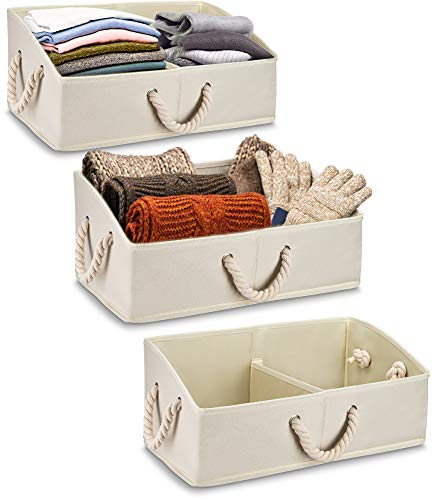 Organize Star 3 Large Storage Bins,Trapezoid Basket Best to Keep Any Closet or Shelf Organized with Perfect View. Removable Divider,Foldable Compact Storage for Clothes, Baby, Toy Linen and Bathroom