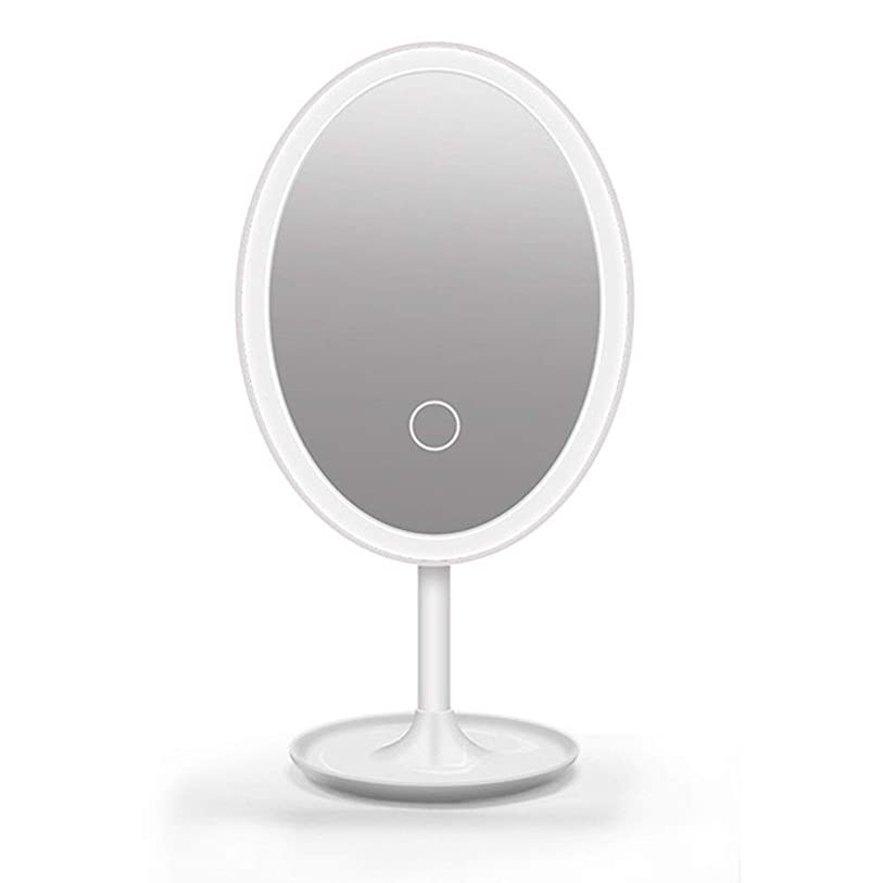 泳ぐ神社どきどき化粧鏡 浴室や寝室カウンターのためにライトアップ化粧化粧鏡、タッチスクリーン360度自由に回転テーブルカウンター、ラウンド化粧鏡 (色 : 白, サイズ : 14.5cm)