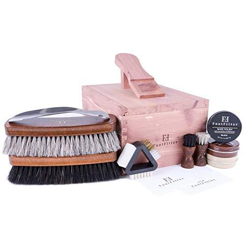 FootFitter Deluxe Shoe Shine Set - Essential Shoe Care Kit! Quality Polishing Gift for Men