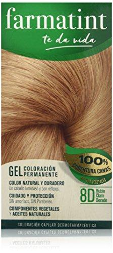 Farmatint Gel 8D Rubio Claro Dorado | Color natural y duradero | Componentes vegetales y aceites naturales | Sin amoníaco | Sin Parabenos | Dermatológicamente testado