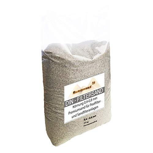 """25 kg Filtersand für Sandfilteranlagen 0,4-0,8 mm Marke \""""Meinpool24.de\"""" H1 Versand mit DHL"""