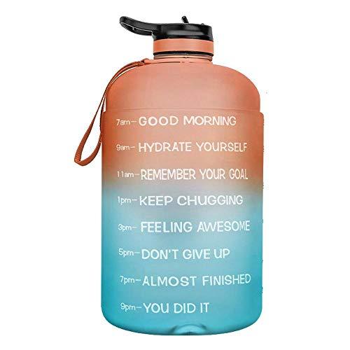 Jarra de agua grande Botella de agua con aislamiento de plástico para práctica de fútbol Recipiente para beber reutilizable a prueba de fugas PETG con gran capacidad(Color:B)