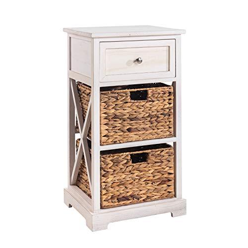 CARO-Möbel Nachtschrank Cheyenne Nachttisch Nachtkonsole für Boxspringbett in weiß mit 1 Schublade, 2 Körbe
