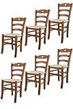Tommychairs - Set 6 sillas Cuore para Cocina y Comedor, Estructura en Madera de Haya Color Cerezo y Asiento tapizado en Polipiel Color Marfil