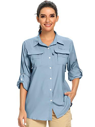 Women's UPF 50+ UV Sun Protection Safari Shirt, Long Sleeve Outdoor Cool Quick Dry Fishing Hiking Gardening Shirts (5055 Light...