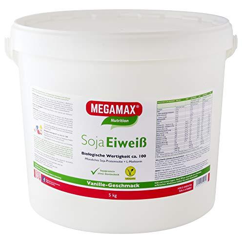 MEGAMAX - Soja Eiweiß - Proteínas de soja - Crecimiento muscular y dieta - Valor biológico aprox. 100 - Vainilla - 5 kg