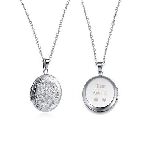 Zysta Personalized Gravur- Vintage Charms Medaillon zum öffnen für Bilder Foto Kette Rund/Herz Anhänger mit Blumen Muster Amulett für Damen Herren (Rund mit Gravur)