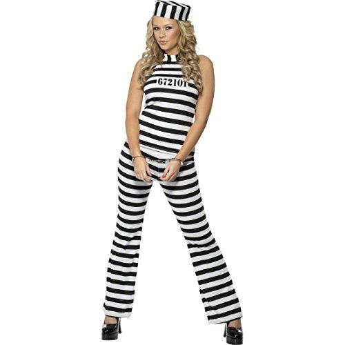 NET TOYS Damen Kostüm Häftling Sträflingskostüm weiß schwarz M 40/42 Gefängniskostüm Häftlingskostüm Frauenkostüm Sträfling Knasti JGA Junggesellinnenabschied