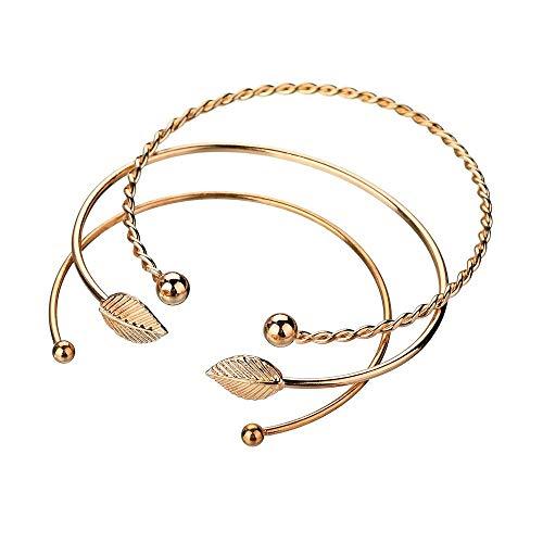 Mypace Silber Gold 925 Armreif Für Damen Herren 3pcs Frauen Edelstahl Screw Hand Leaf Hochzeitskupfer Armband Armband Open Bangle Je Je